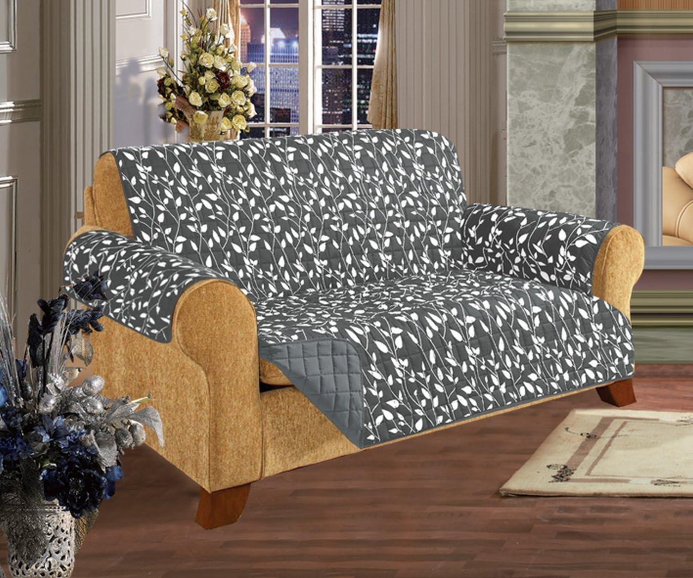 Elegant Comfort Quilted Pet Dog Children Kids Furniture Protector Slip Cover, Leaf Design Gray Sofa