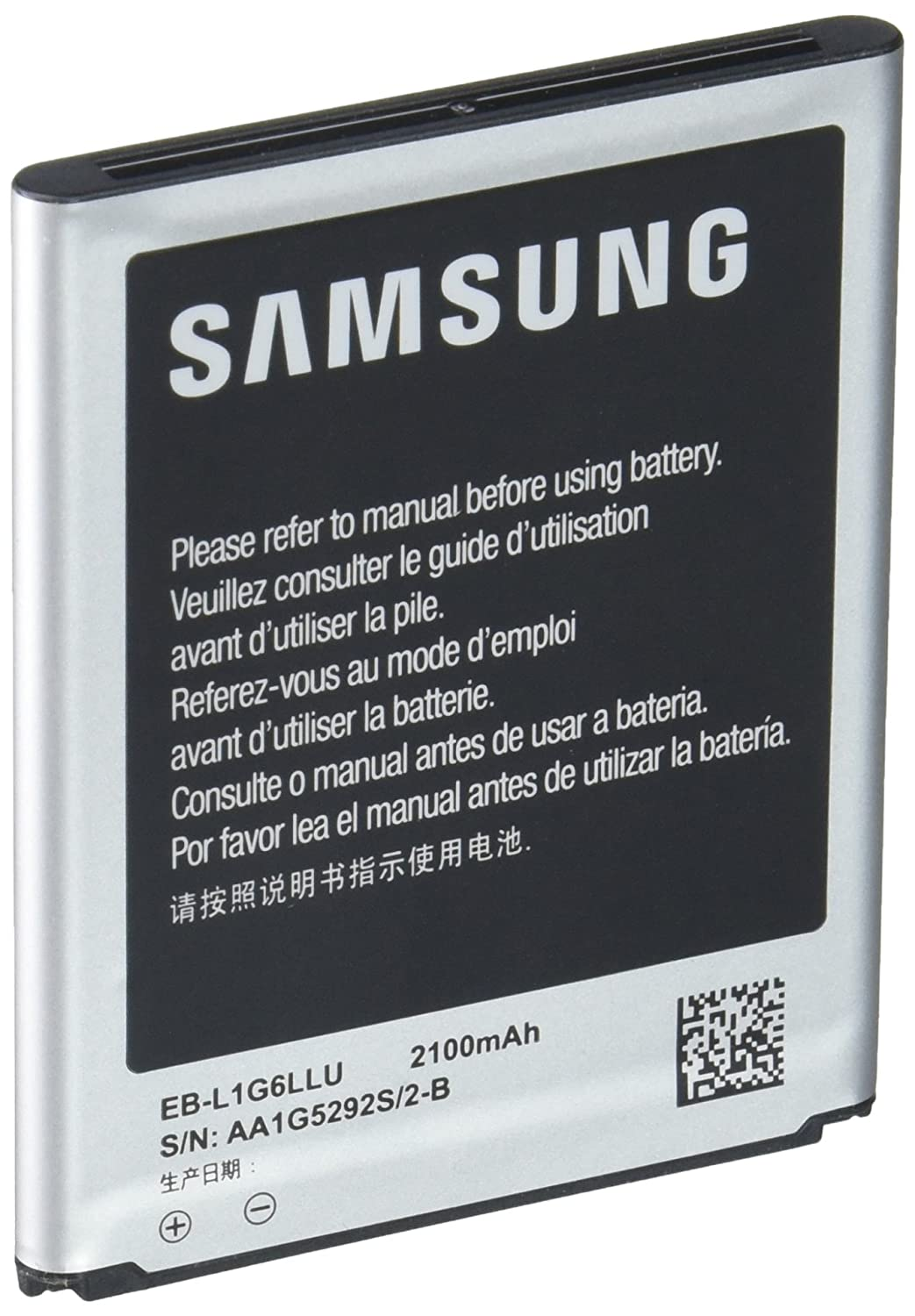 Samsung EB-L1G6LLA Original Genuine OEM Samsung Galaxy S3 2100mAh Spare Replacement Li-ion Battery with NFC Technology for All Carriers, Non-Retail Packaging, Silver (Discontinued by Manufacturer) EB-L1G6LLU