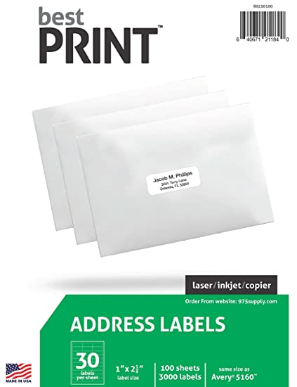 amazon com 30 up best print address labels 1 x 2 5 8 3 000