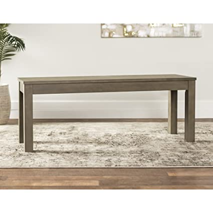 Beau WE Furniture Aged Grey Homestead Wood Dining Bench   48u0026quot;