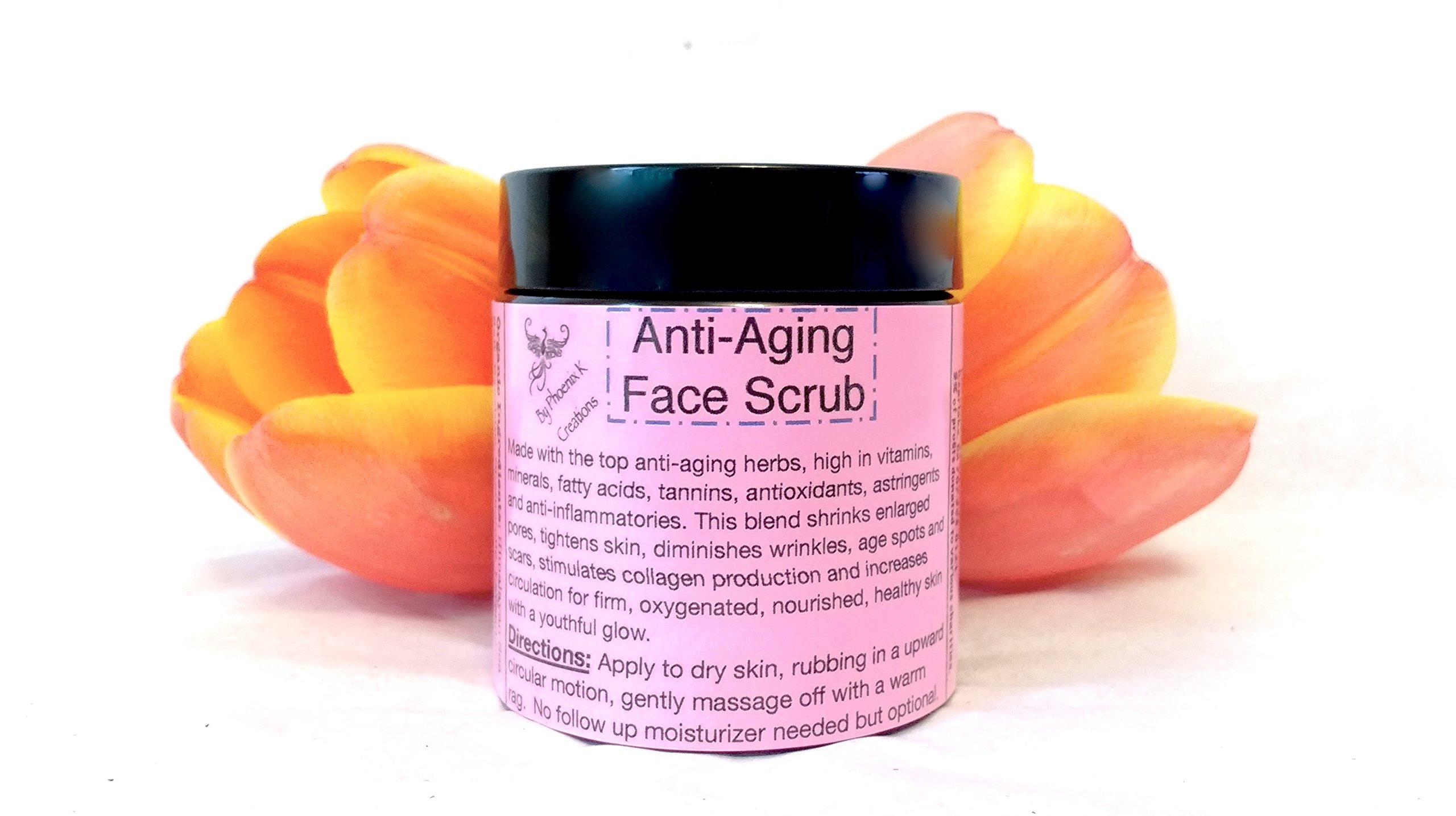 Anti-aging Face Scrub-Organic, Raw, Vegan, high in antioxidants and vitamins, firms skin, exfoliates, diminishes wrinkles.
