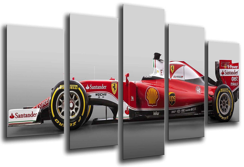 MULTI Wood Printings Art Print Box Framed Picture Wall Hanging - Car Formula 1, Ferrari F1, Sebastian Vettel, (Total Size: 65