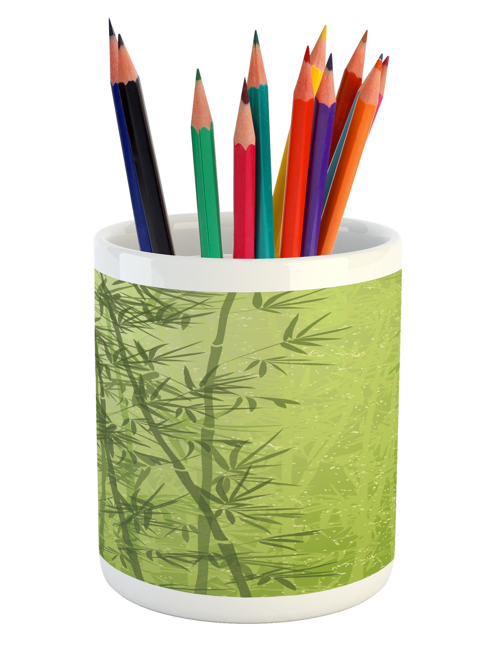 Ambesonne Exotic Pencil Pen Holder, Tropical Forest Rainforest Jungle Paradise Ecology Feng Shui Spa, Printed Ceramic Pencil Pen Holder for Desk Office Accessory, Pistachio Green Fern Green