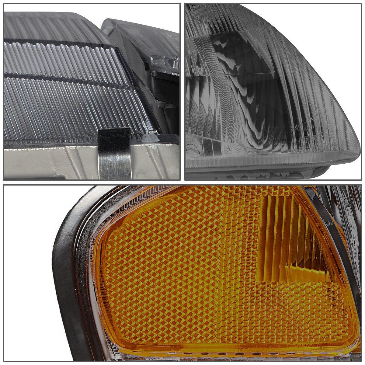 DNA Motoring HL-OH-063-SM-AM Smoke Lens Headlights+Corner Lights For 98-99 Mazda 626