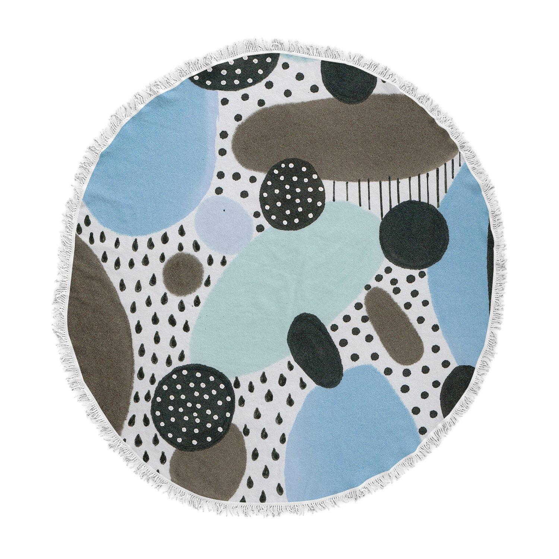 Kess InHouse Li Zamperini Alegro II Blue Brown Painting Round Beach Towel Blanket