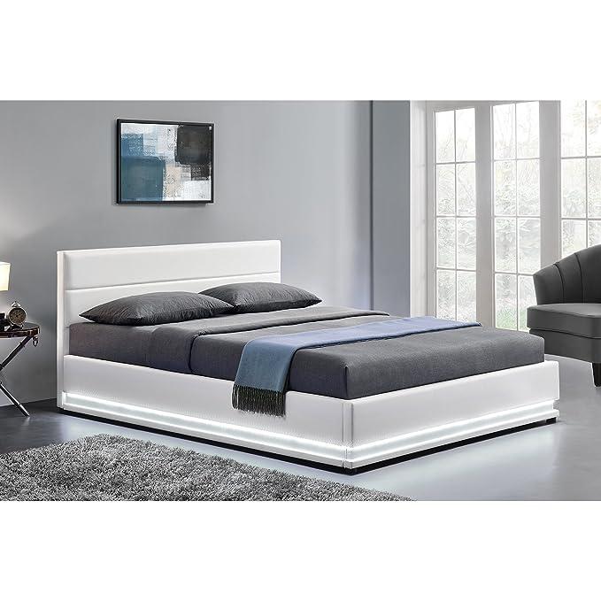 LOdin: Estructura de cama de piel sintética, con baúl, somier y luces led integradas, 160 x 200 cm: Amazon.es: Hogar