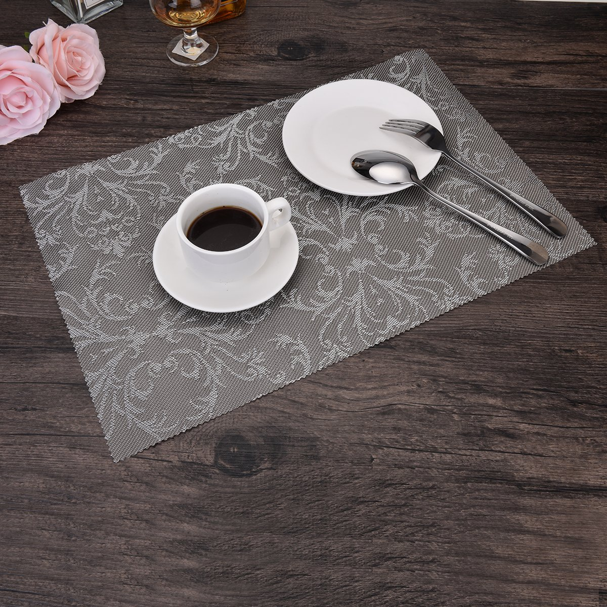 OZCHIN Placemats Dining Kitchen Table Non-slip Insulation Placemat Washable Table Mats Set of 4 Silver by OZCHIN (Image #6)