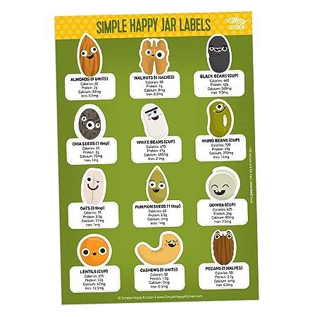 Etiquetas adhesivas con valores de nutrición, etiquetas de ...