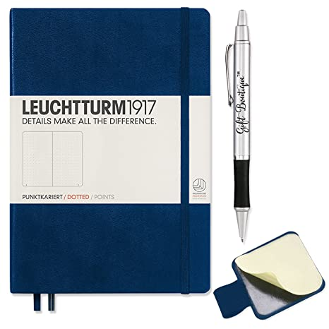 Leuchtturm1917 Dotted A5 Navy  Medium Size Hardcover Notebook   With  Leuchtturm1917 Self Adhesive Pen