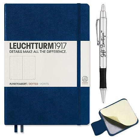 Good Leuchtturm1917 Dotted A5 Navy  Medium Size Hardcover Notebook   With  Leuchtturm1917 Self Adhesive Pen
