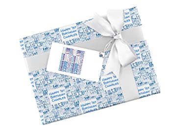 Blue Happy 1st Birthday Personalised Wrapping Paper Baby