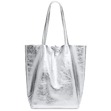 c3cee733a3 CASPAR TL781 Grand sac en cuir métallique pour femme/sac shopping cuir,  Couleur:argenté métallique;Taille:One Size: Amazon.fr: Vêtements et  accessoires