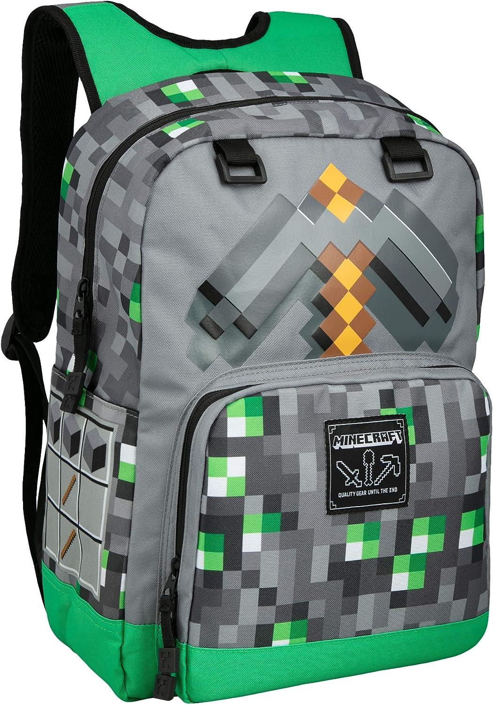 JINX Minecraft Emerald Survivalist Mochila escolar para niños, verde, 17 pulgadas: Amazon.es: Ropa y accesorios