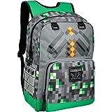 """JINX Minecraft Emerald Survivalist Kids School Backpack, Green, 17"""""""