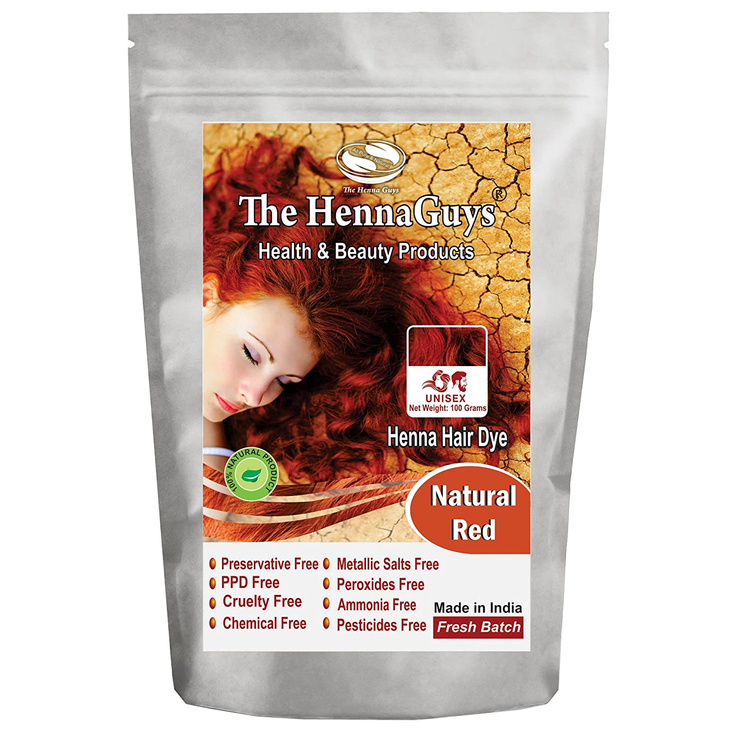 Amazon.com : Natural Red Henna Hair Color / Dye 100 Grams - The ...