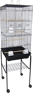 YML 6924 3/8-Inch Bar Spacing Tall Flat Top Bird Cage with Stand, 18-Inch by 18-Inch/Small, White