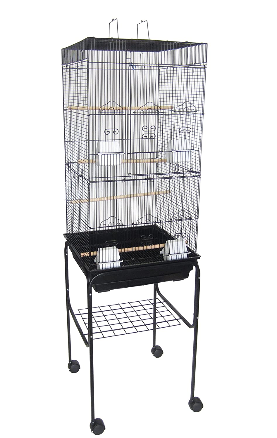 YML 6924 3/8-Inch Bar Spacing Tall Flat Top Bird Cage with Stand, 18-Inch by 18-Inch/Small, White 6924_4814WHT