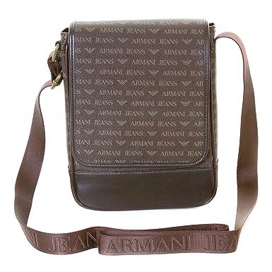 3289deced44b Image Unavailable. Image not available for. Colour  Armani Jeans mens brown  06293 J4 logo messenger bag AJM2474