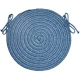 Solid Polyester French Blue Braided Rug, 15-Inch, Chair Pad