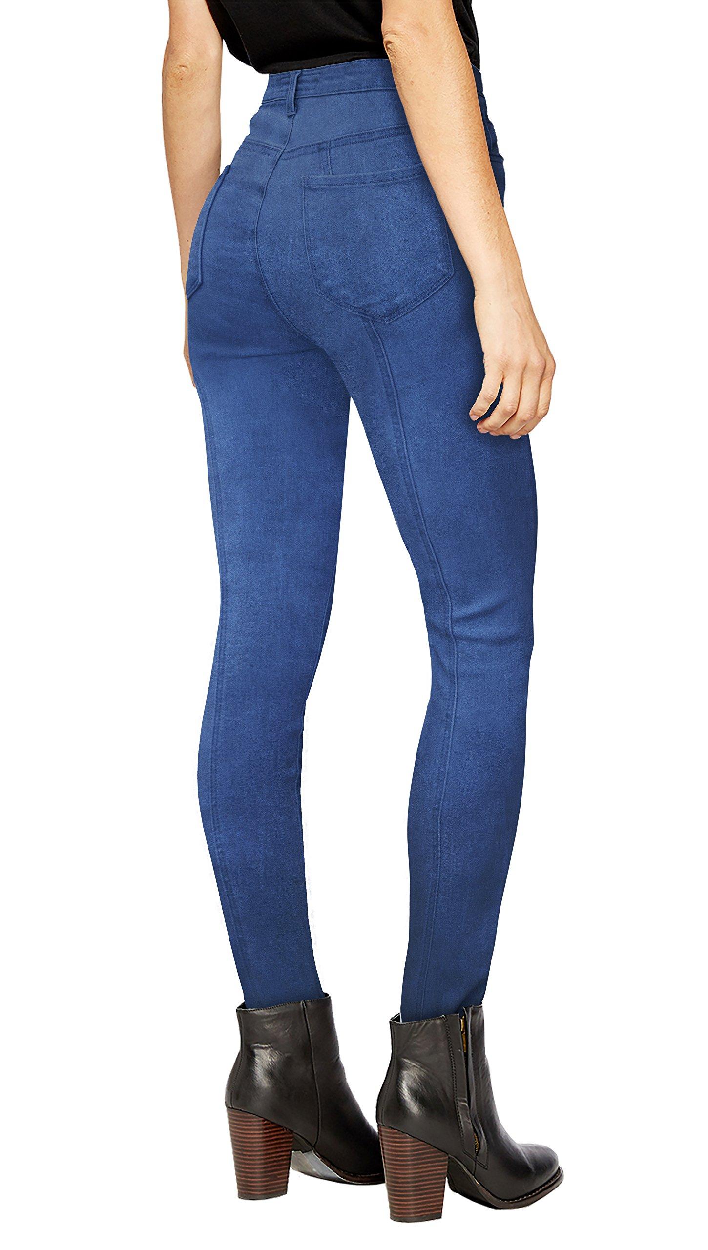 Womens Super Stretch 5 Button Hi Waist Skinny Capri P43240SK Blue Acid 15