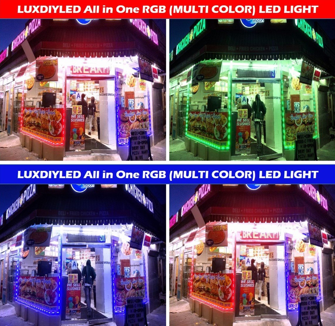 LUX LED All in One DIY LED Kit for Outdoor Built-in Protective Cap Plug & Play (Multi Color 50ft)