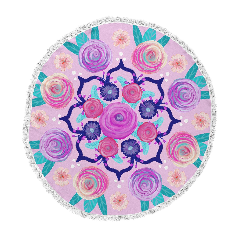 Kess InHouse Anneline Sophia Expressive Blooms Mandala Pink Floral Fleece Pillow Case 30 x 20