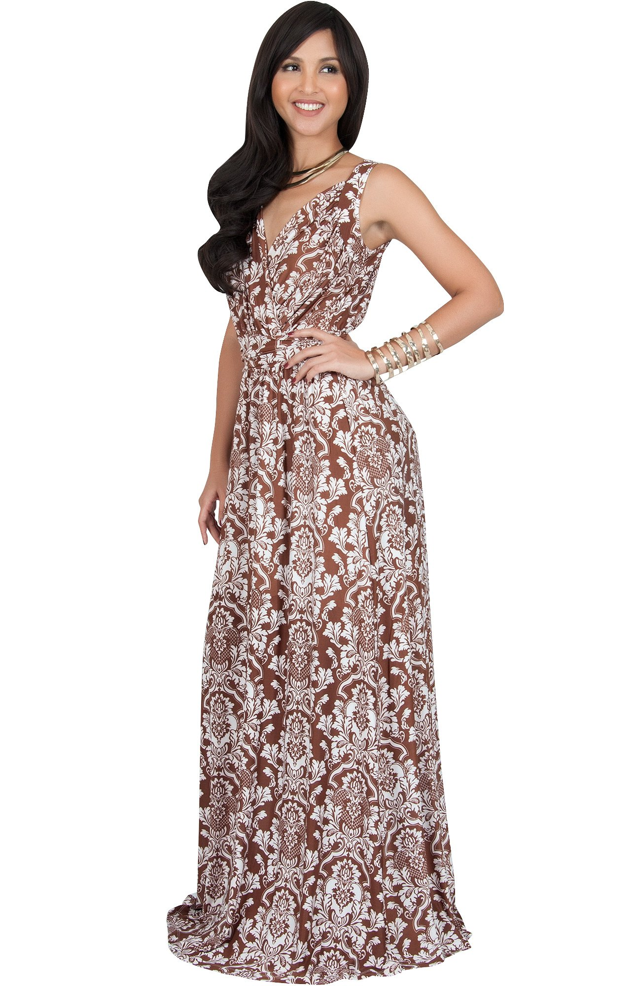 4f7a5e1d438f ... Floral Print Work Party Jersey Sexy Gown Gowns Maxi Dress Dresses,  Brown and White 2XL 18-20. ; 