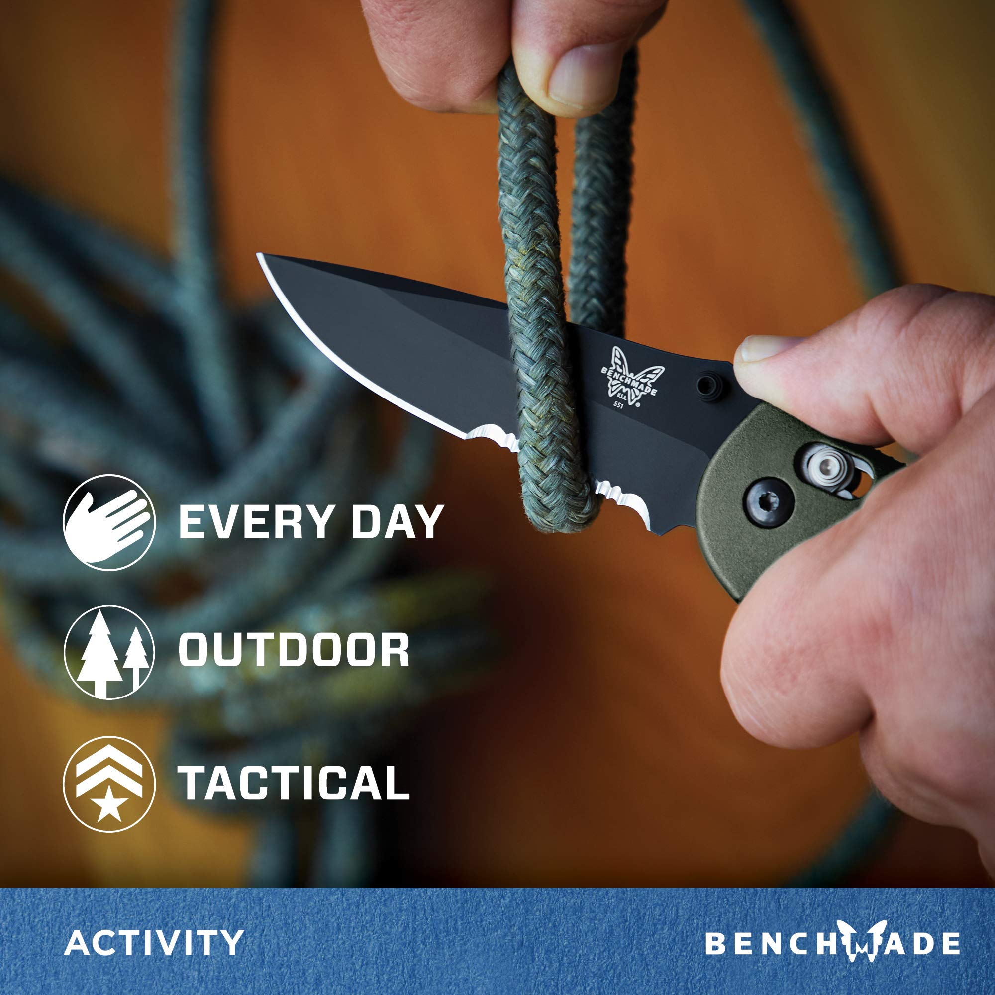 Benchmade - Griptilian 551 Knife with CPM-S30V Steel, Drop-Point Blade, Serrated Edge, Coated Finish, Olive Handle by Benchmade (Image #4)