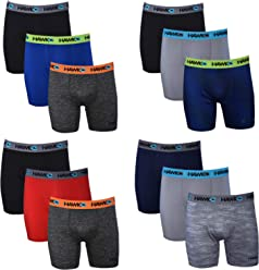 5bcfd92b03 Tony Hawk Mens Performance Boxer Briefs - 12-Pack Athletic Fit Breathable  Tagless Underwear