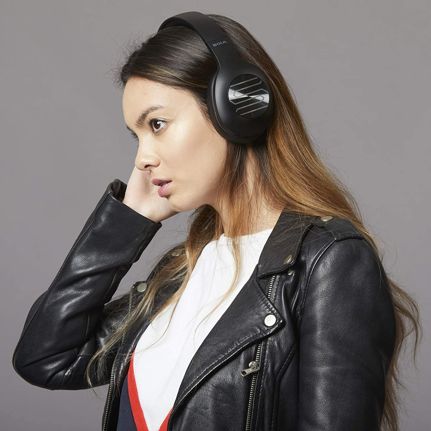 Soul Electronics Ultra Wireless Foldable Over-Ear Stereo Bass Headphones with Soft Earmuffs & Light Weight for Prolonged Waring Black
