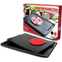 HelferX Defrosting Tray   Thawing Plate for fast defrosting of frozen foods   Premium Quality Defrost Tray   With bonus Drip tray and silicone sponge   Extra Thick (3mm) Non-stick