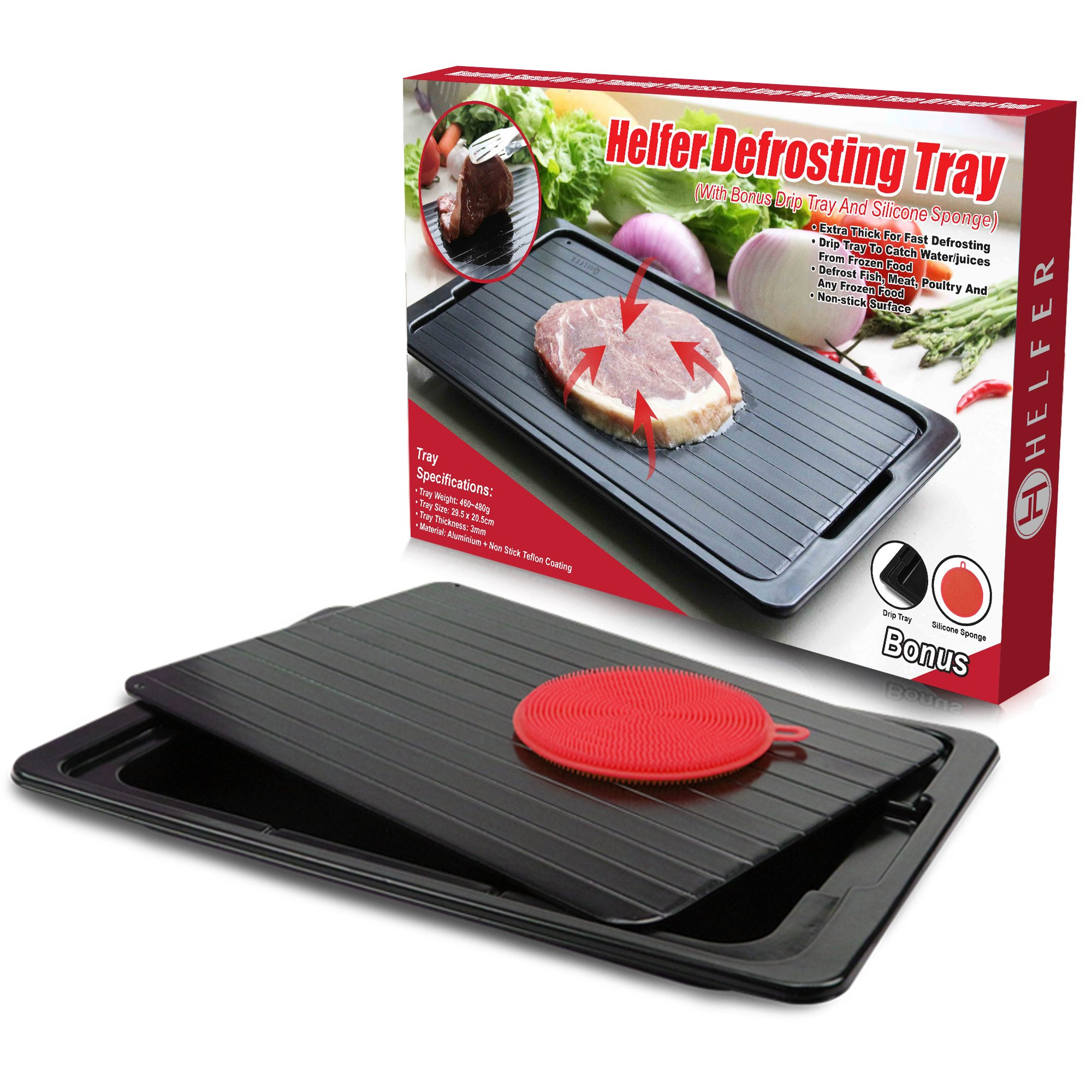 HelferX Defrosting Tray | Thawing Plate for fast defrosting of frozen foods | Premium Quality Defrost Tray | With bonus Drip tray and silicone sponge | Extra Thick (3mm) Non-stick by Helfer
