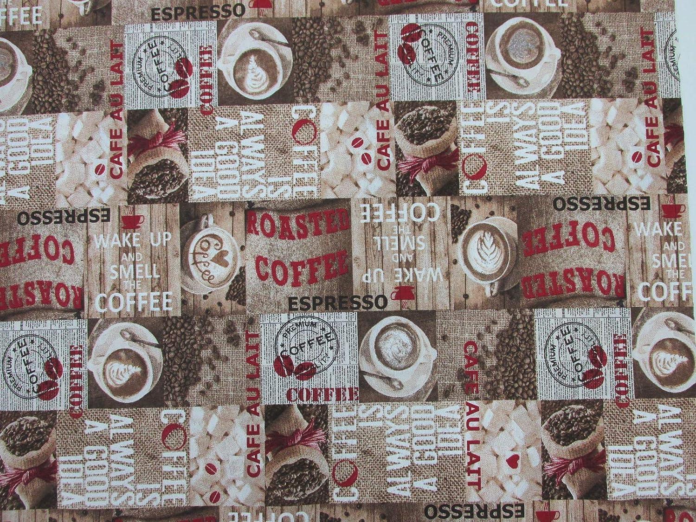 Metraje 2,45 MTS Tejido loneta Estampada Ref. Coffee Roaster, con Ancho 2,80 MTS.