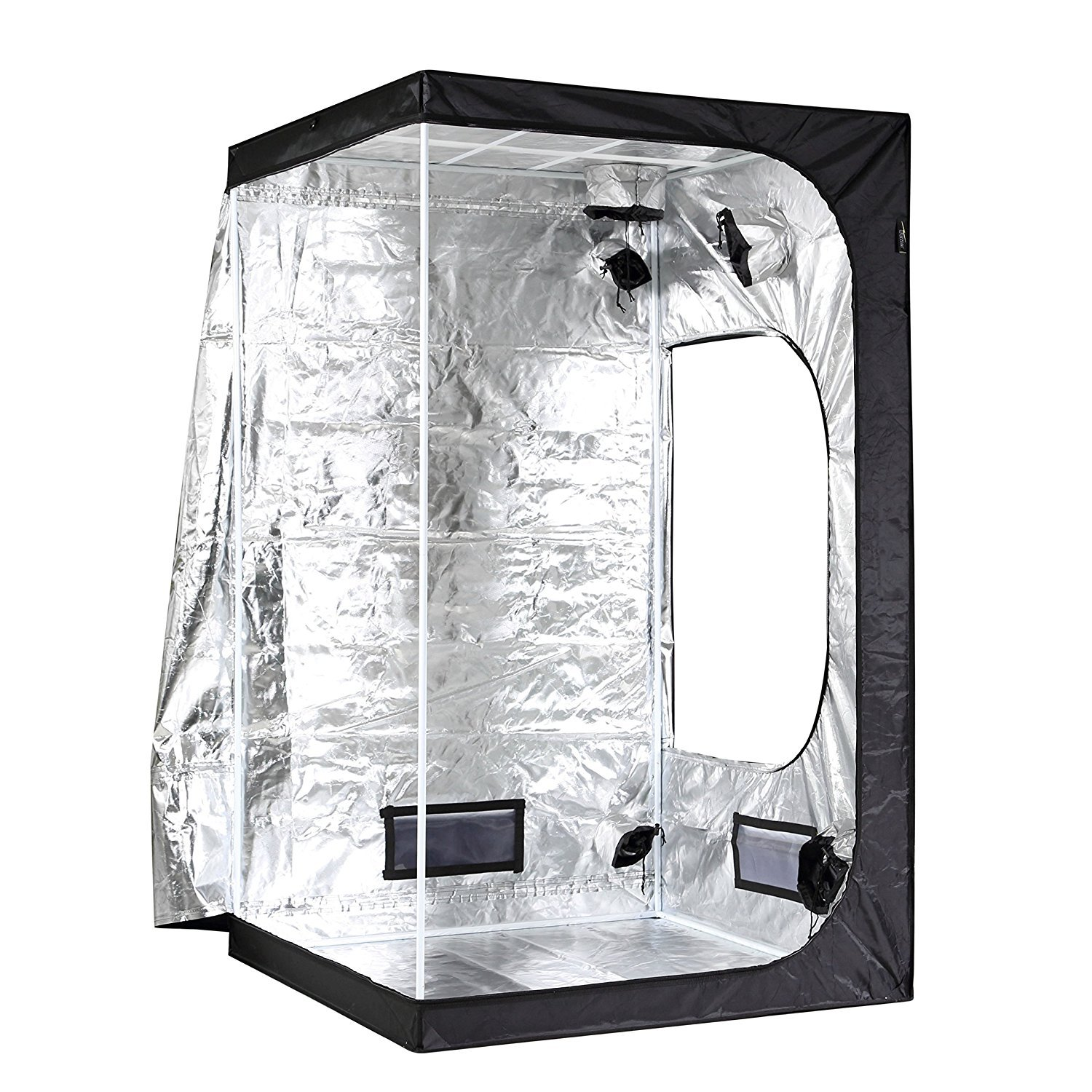 iPower 48''x48''x78'' 4'x4' Hydroponic Mylar Grow Tent with Observation Window, Tool Bag and Floor Tray for Grow Light and Indoor Plant Growing