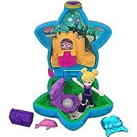 Polly Pocket Mini-Coffret bleu ciel L'Aquarium avec 1 mini-figurine et accessoires dauphin, malle au trésor et palmes, jouet enfant, édition 2018, FRY33