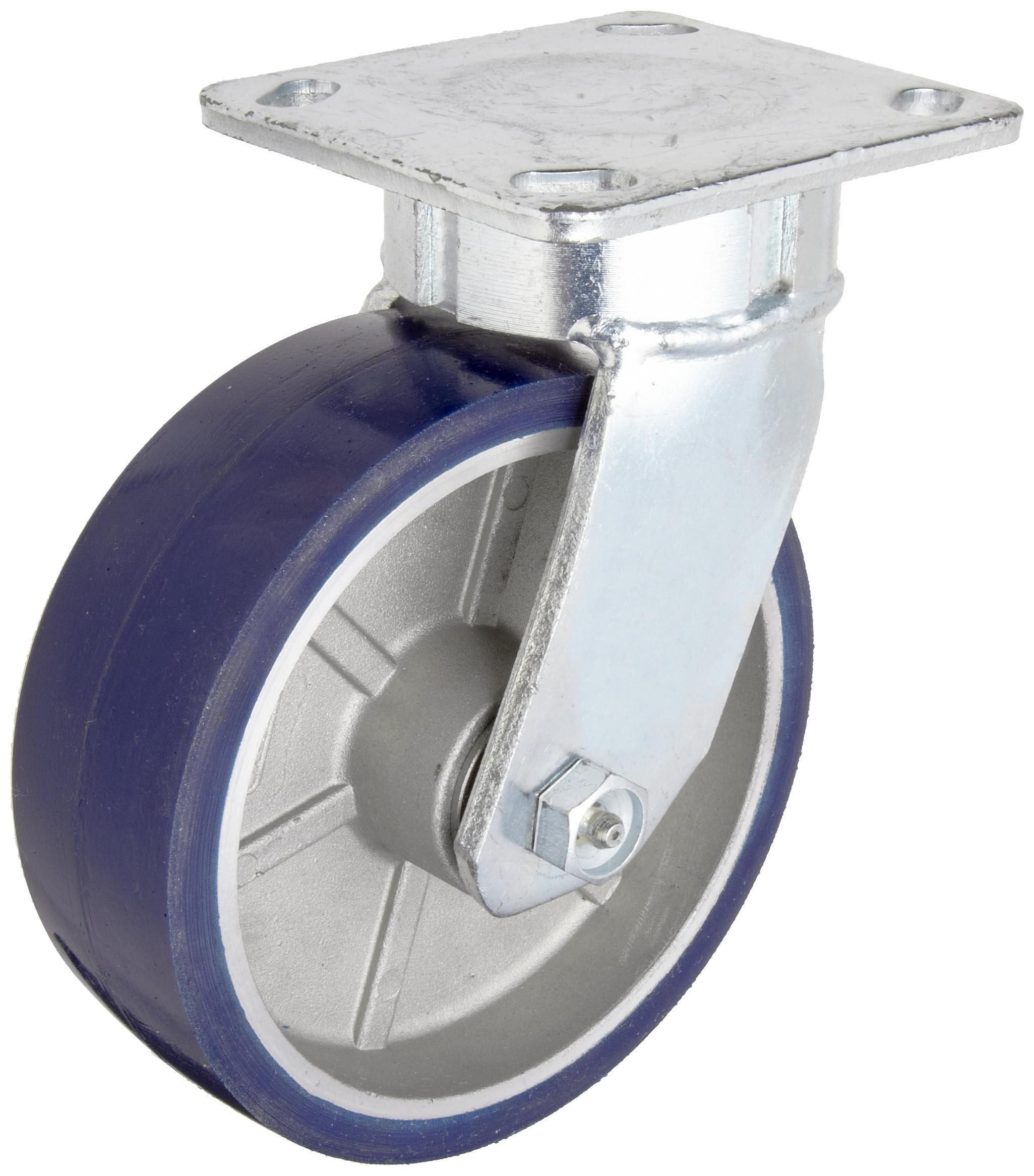 RWM Casters Freedom 48 Series Plate Caster, Swivel, Urethane on Aluminum Wheel, Roller Bearing, 1230 lbs Capacity, 6'' Wheel Dia, 2'' Wheel Width, 7-1/2'' Mount Height, 4-1/2'' Plate Length, 4'' Plate Width