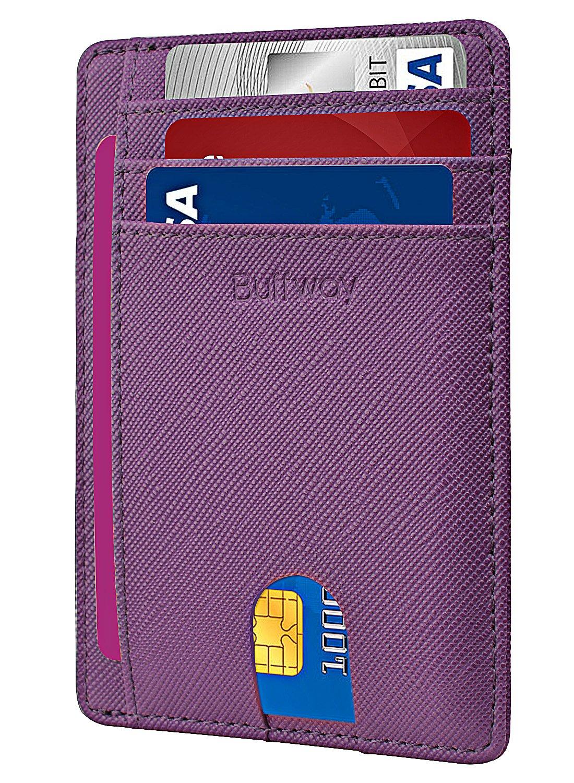 Slim Minimalist Leather Wallets for Men & Women - Cross Purple
