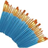 Paint Brushes 50 Pcs, heartybay Nylon Hair Brushes Set Acrylic Blue Round Pointed Paints Brush for Watercolor Oil…