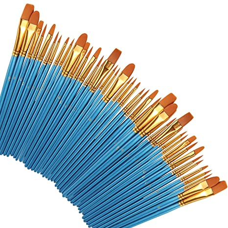 Office & School Supplies Paint Brushes 50 Pcs,nylon Hair Brushes Set Blue Round Pointed Paints Brush For Watercolor Oil Painting