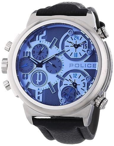 Police PL.13595JS-13 - Reloj analógico de Cuarzo para Hombre con Correa de Piel, Color Negro: Amazon.es: Relojes
