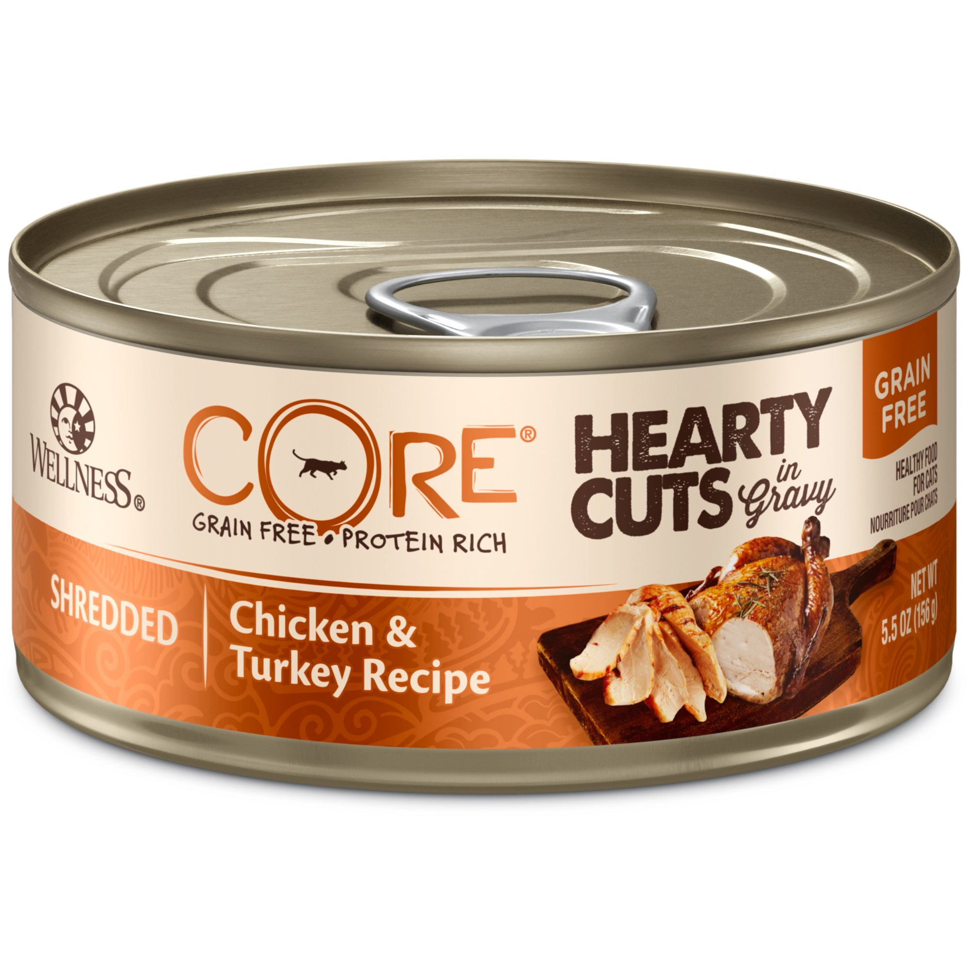Wellness Core Hearty Cuts Natural Canned Grain Free Wet Indoor Cat Food, Chicken & Turkey, 5.5-Ounce Can (Pack Of 24) by WELLNESS CORE