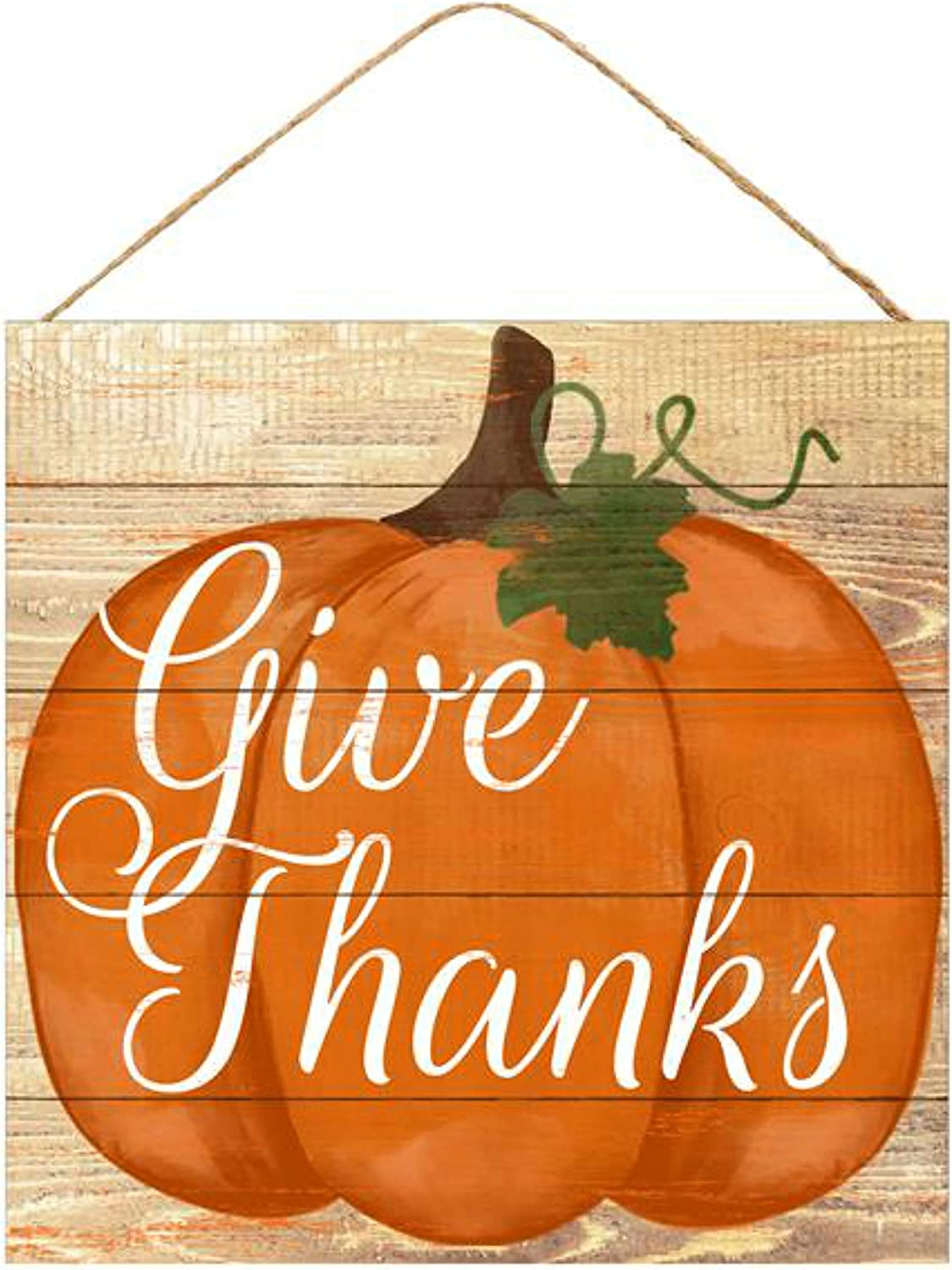"Craig Bachman 10"" Wooden Sign: Give Thanks Pumpkin - Fall Autumn Wood Wall or Door Hanger Sign"