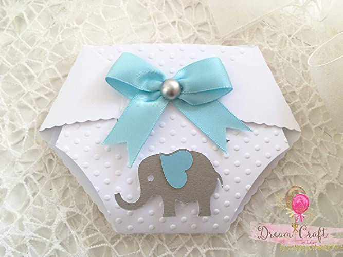 10 Personalised Baby Shower Invitation With Elephant In The Shape Of