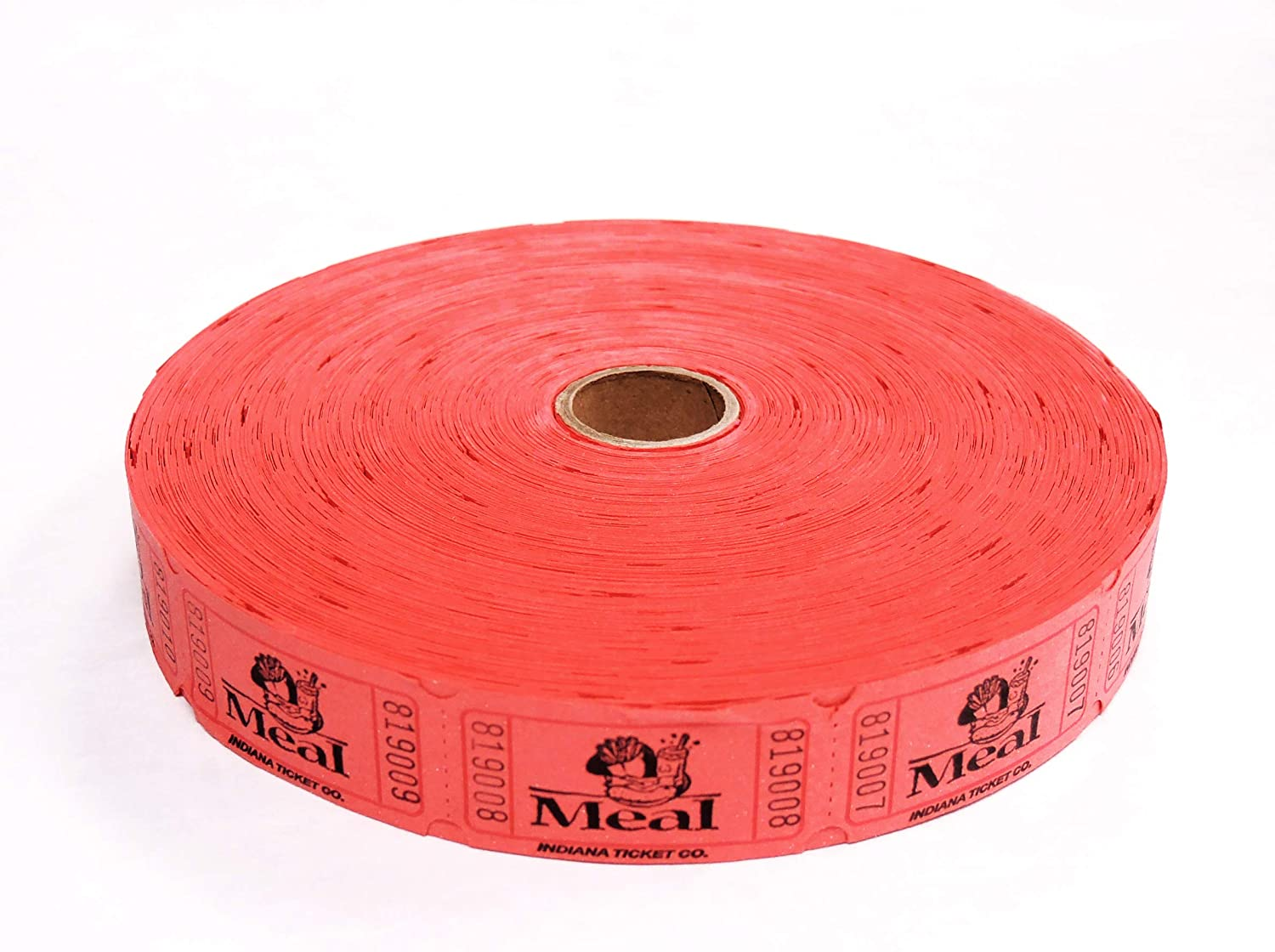 2000 Red Meal Single Roll Consecutively Numbered Raffle Tickets