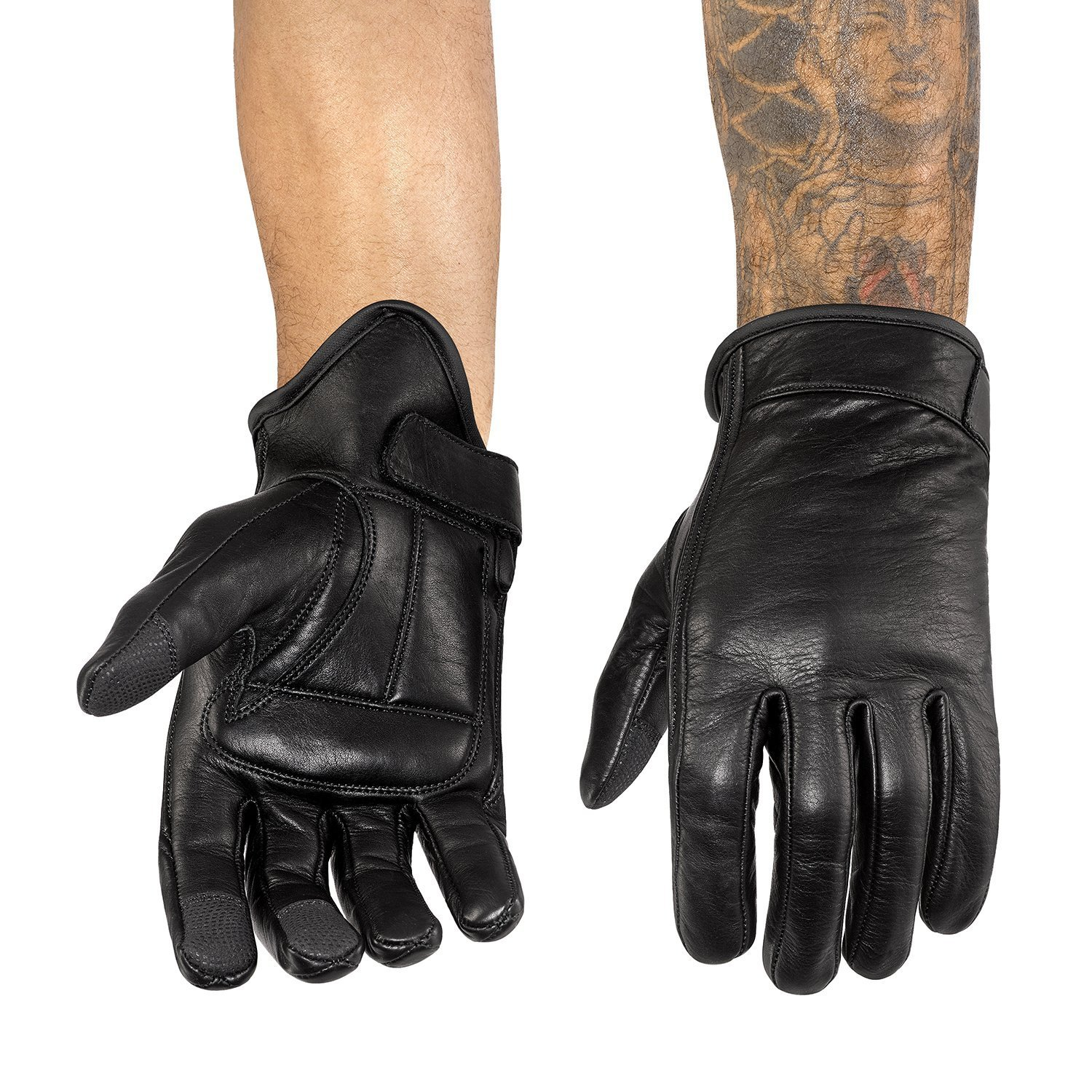 Viking Cycle Men/'s Premium Leather Standard Touch Screen Motorcycle Gloves X-Large
