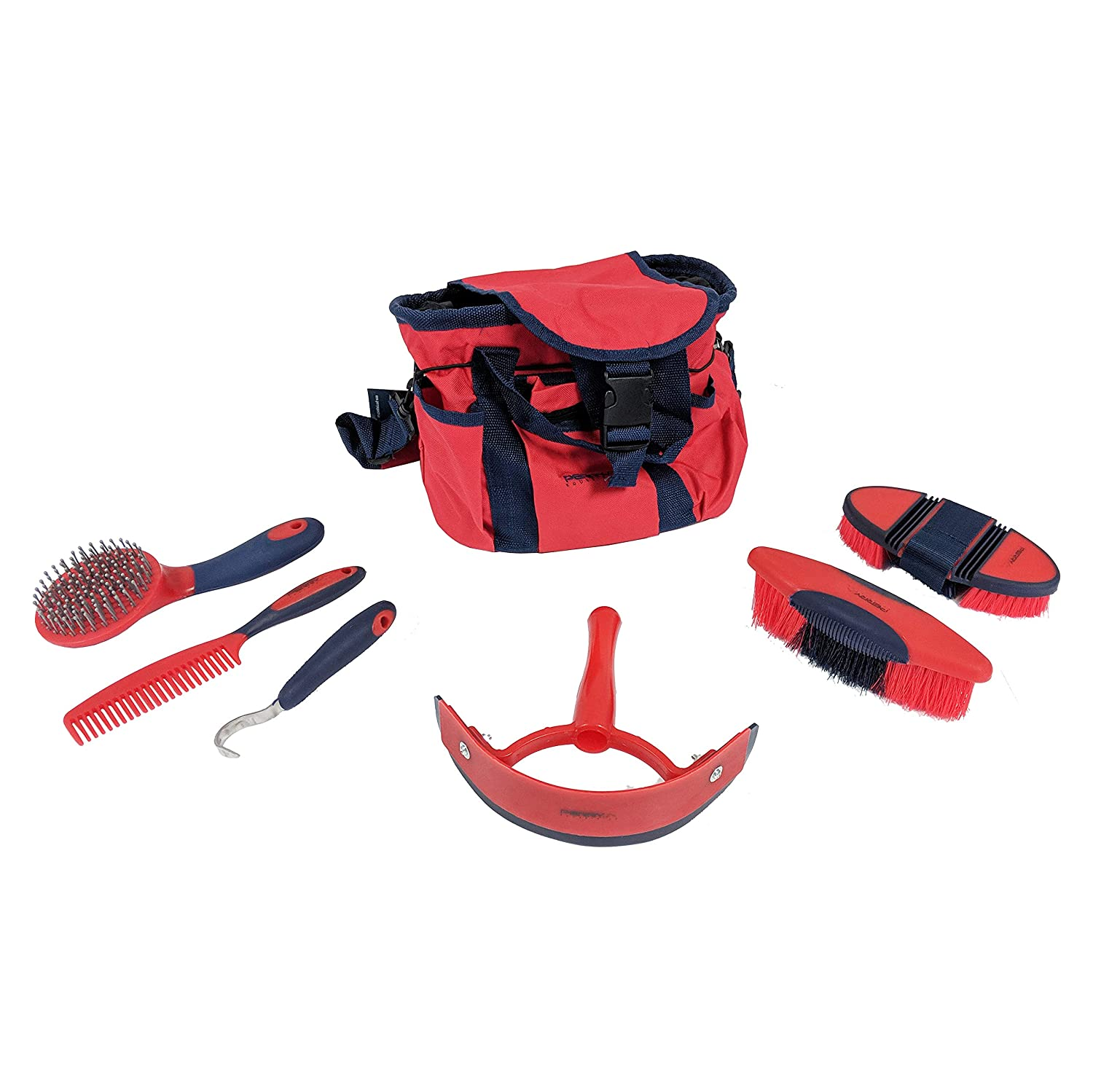 Perry Equestrian 6 Piece Horse//Pony Grooming Kit with Bag 4 Colours Gift Idea Blue