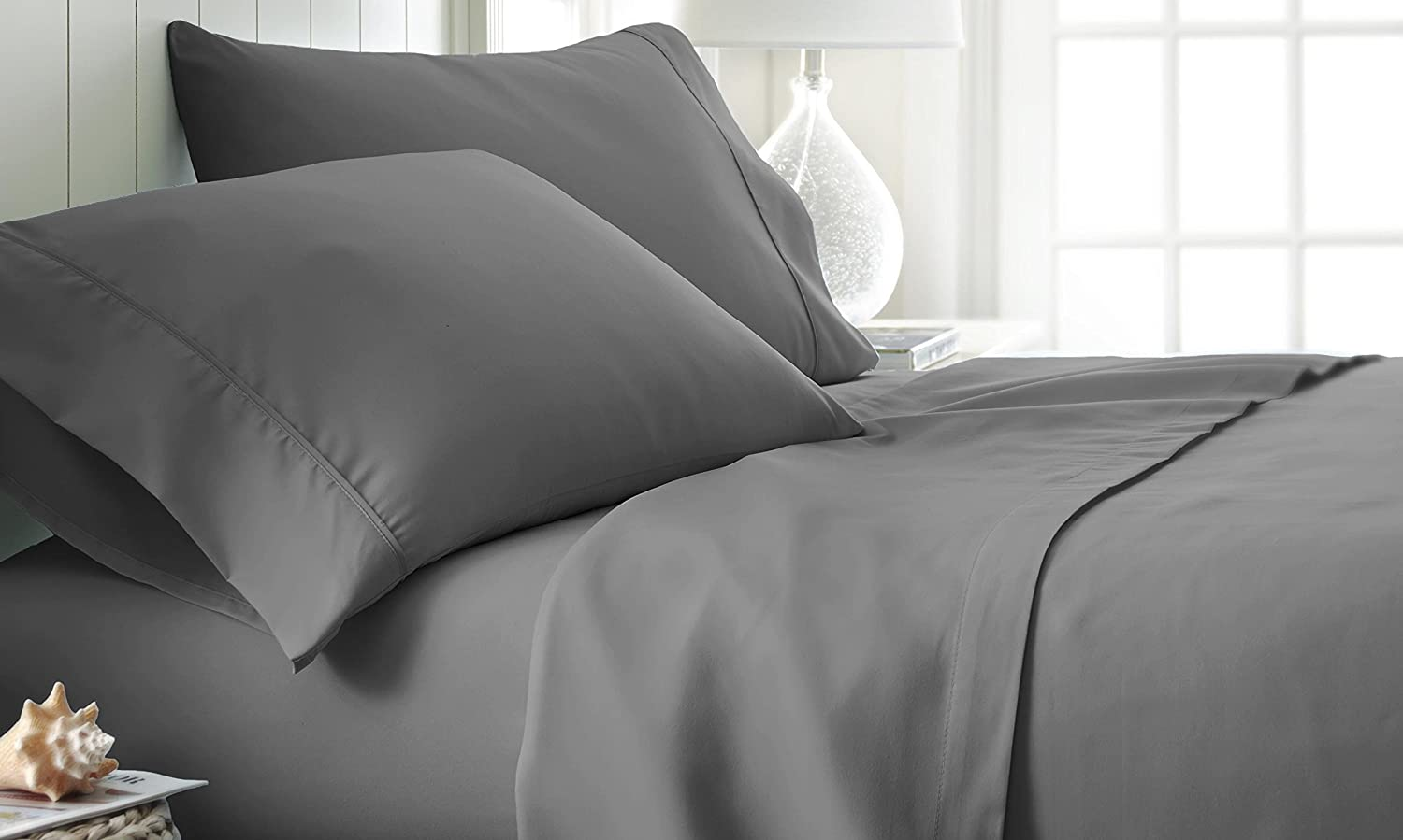 ienjoy Home Hotel Collection Luxury Soft Brushed Bed Sheet Set, Hypoallergenic, Deep Pocket, King, Gray