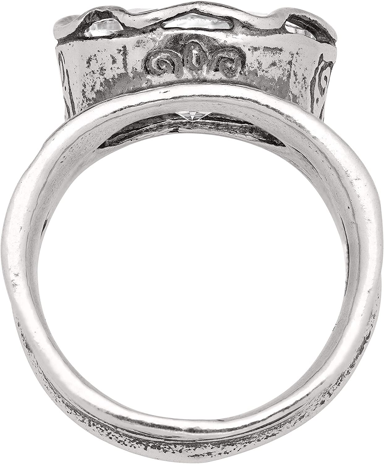 Silpada Rustic Royalty 7 ct Cubic Zirconia Statement Ring in Sterling Silver