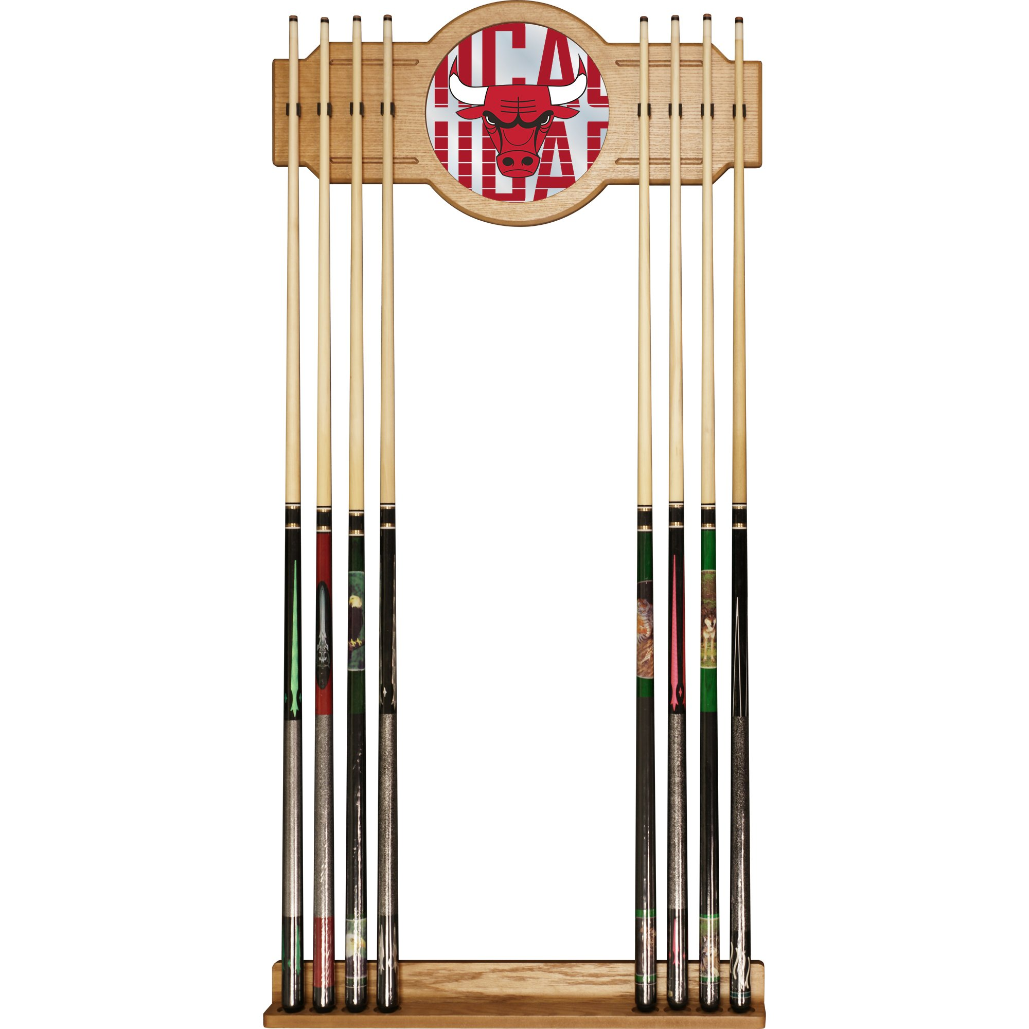 Trademark Gameroom NBA6000-CB3 NBA Cue Rack with Mirror - City - Chicago Bulls