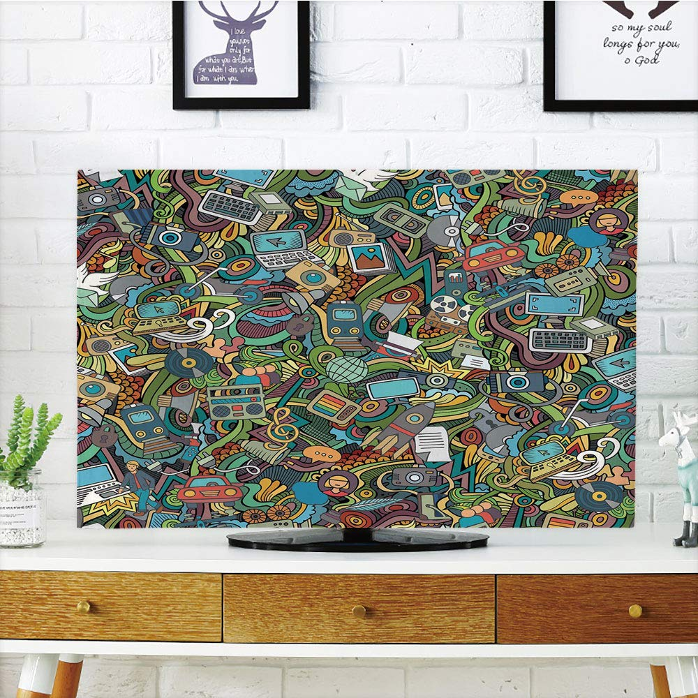 LCD TV dust Cover Customizable,Doodle,A Variety of Social Media Devices Drawn Abstract Manner Computer Photos Smartphone,Multicolor,Graph Customization Design Compatible 37'' TV